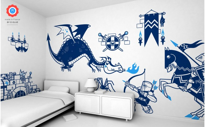 knights and dragons theme kids wall decals pack