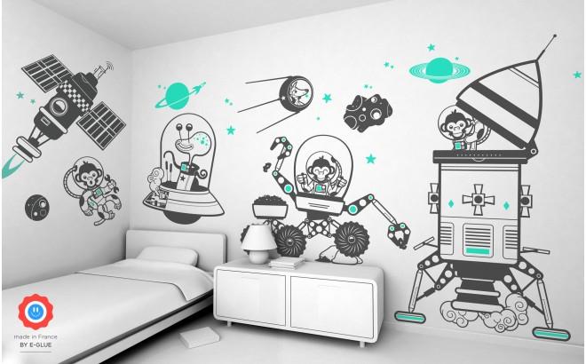 kit vinilos infantiles espacio universo monos