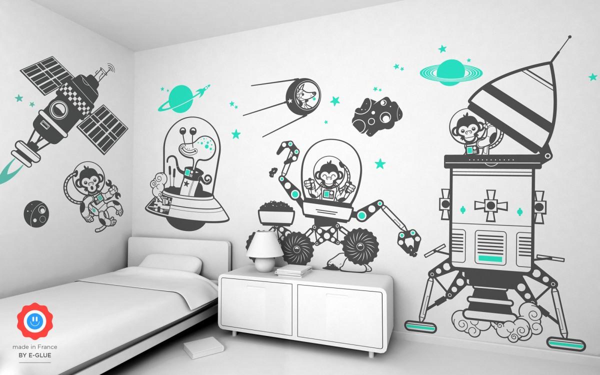 Vinilos infantiles espacio planetas decoraci n de paredes - Decoracion en paredes para ninos ...