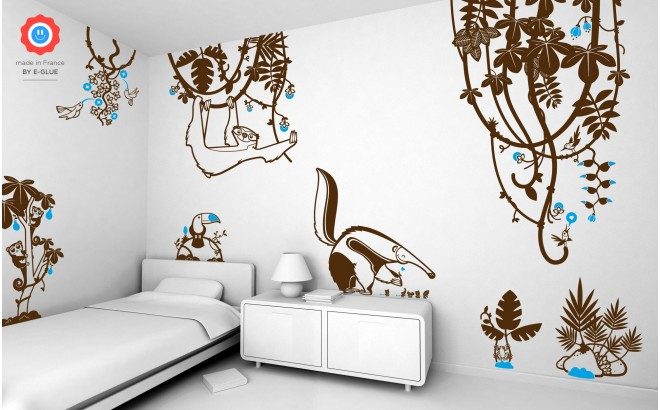rain forest jungle theme kids wall decals pack