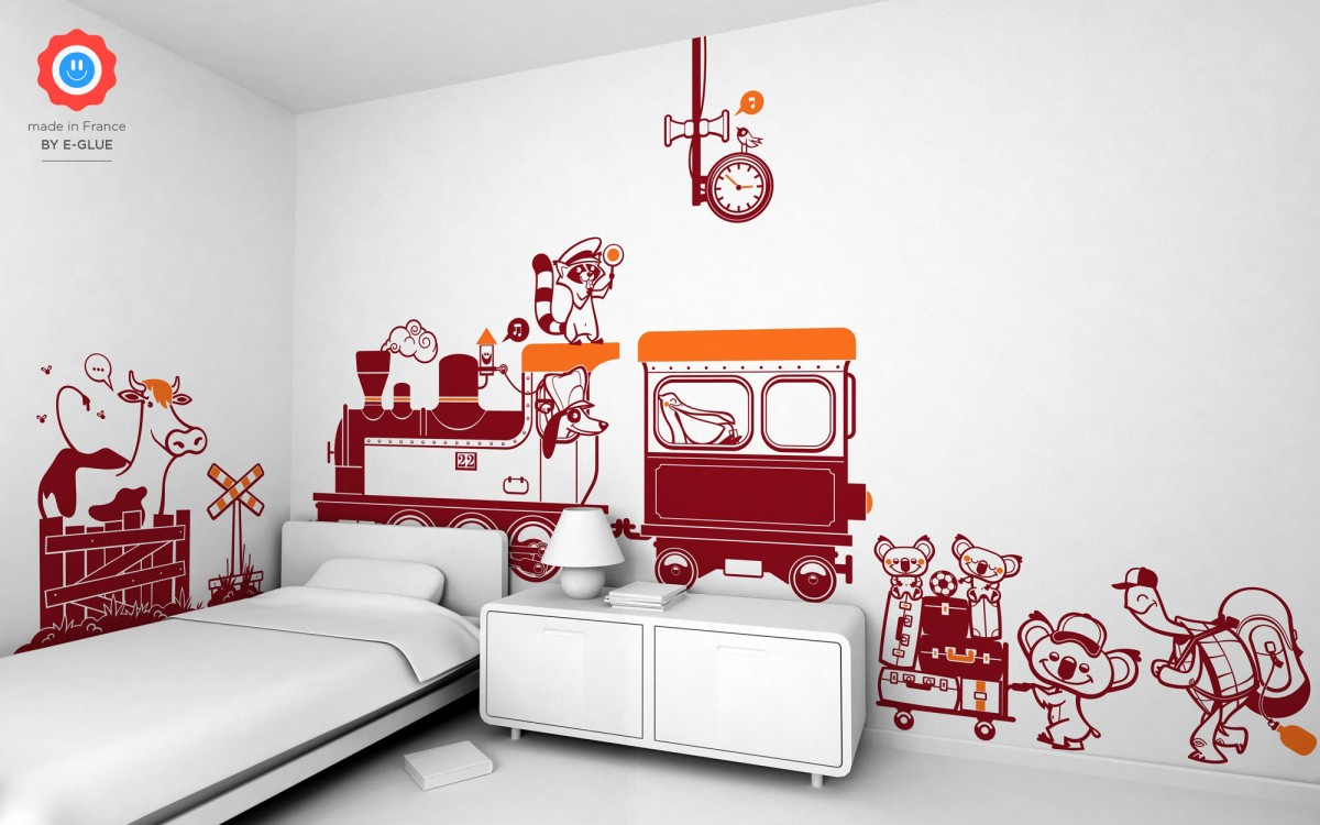 Train wall stickers for your boy s room kids playroom or for Sticker habitacion infantil