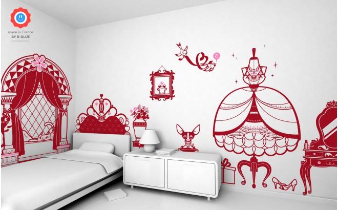 kit stickers enfant fille chambre princesse
