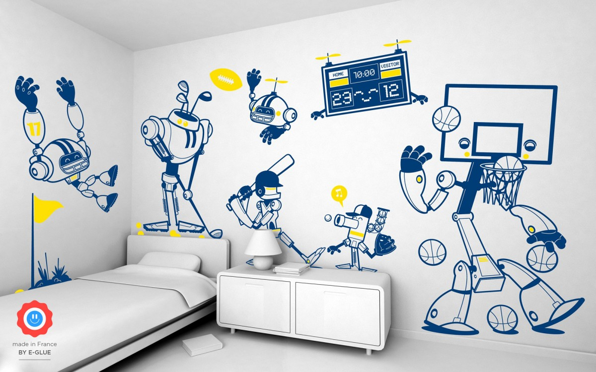 sporty robot kids wall decals