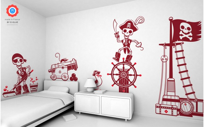 kit vinilos infantiles cama niño piratas corsarios marineros