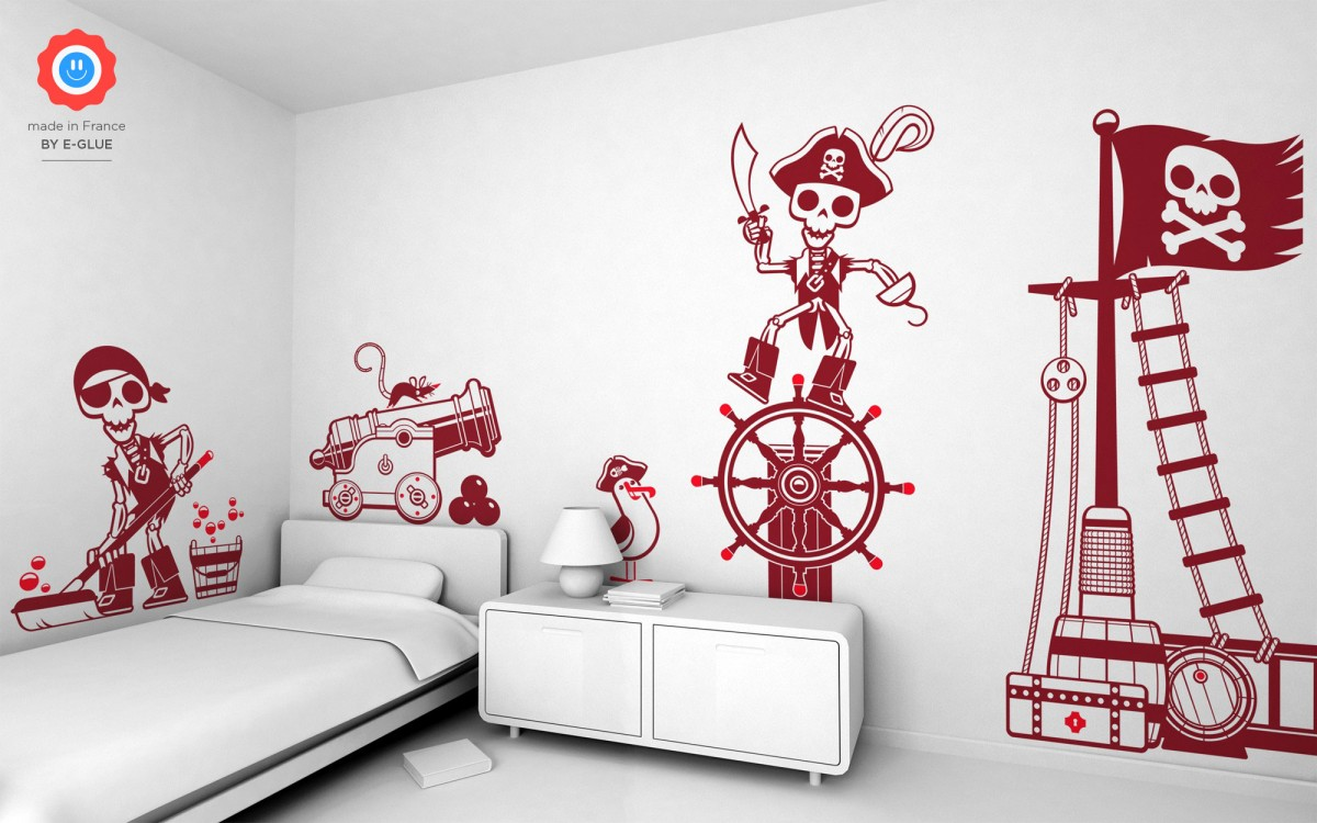Pirate wall stickers for boys and children s rooms by e glue for Stickers decorativos