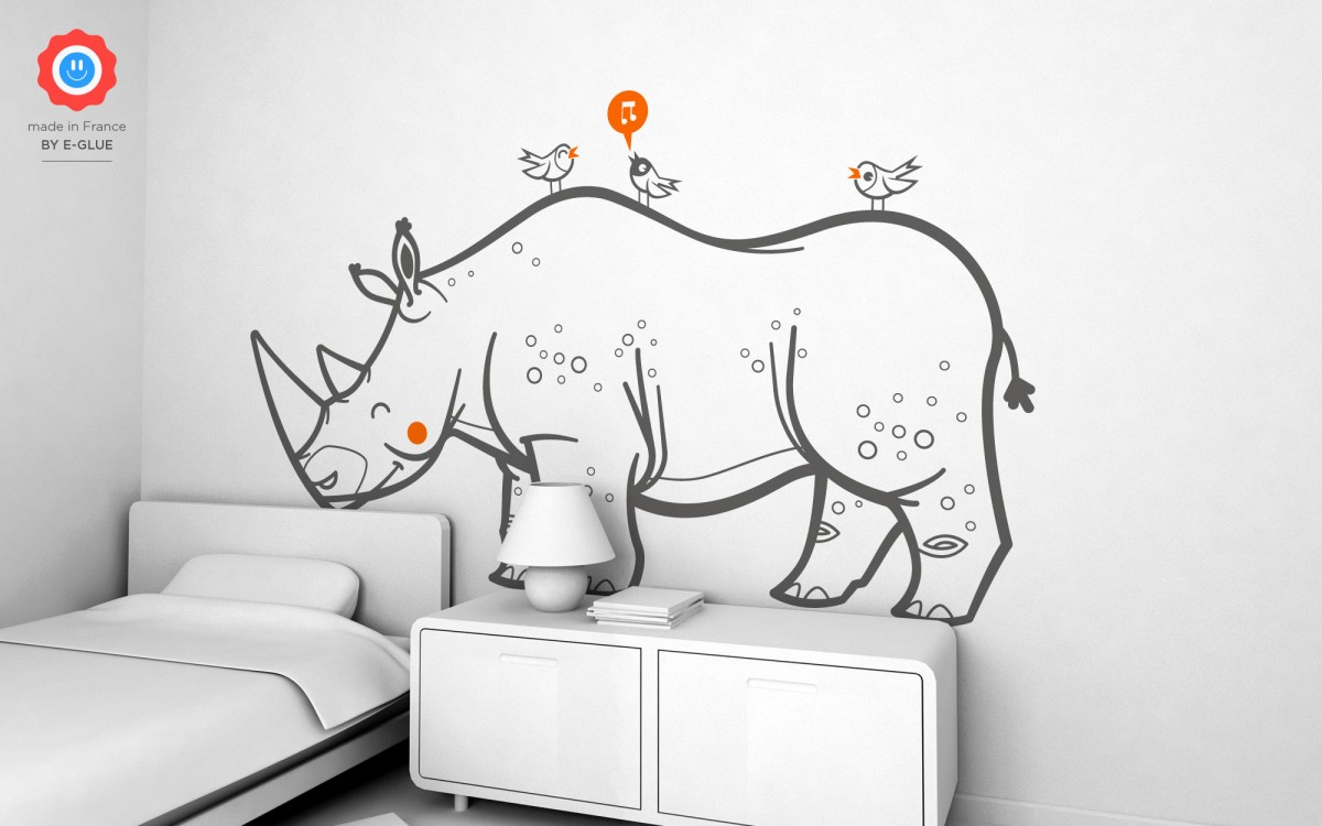 rhinoceros kids wall decals