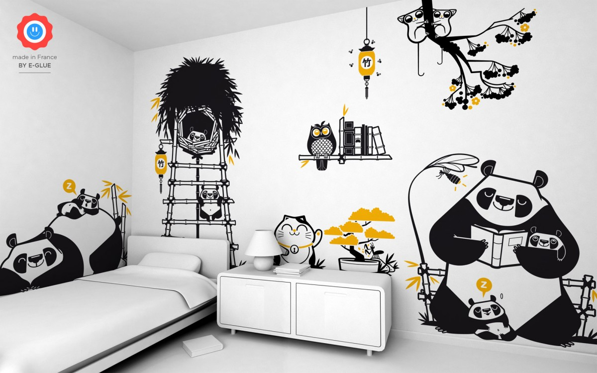 mummy panda kids wall decals