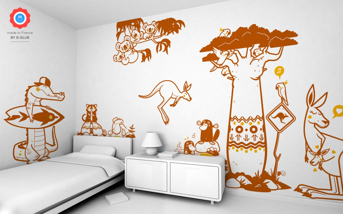 young kangaroo kids wall decals
