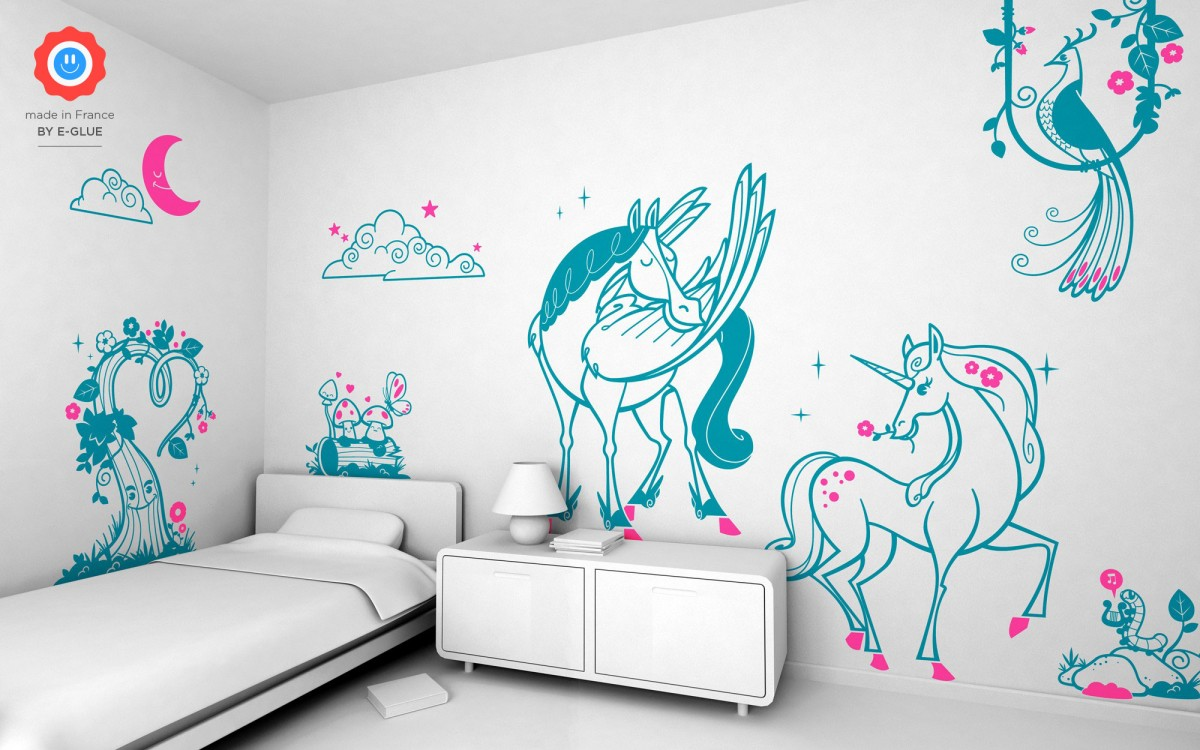 cloud & moon kids wall decals