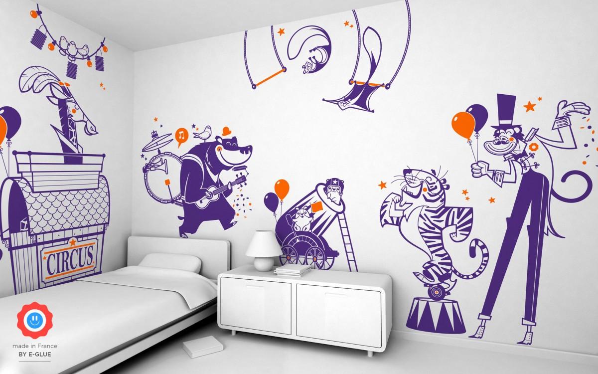 stickers enfant ours orchestre