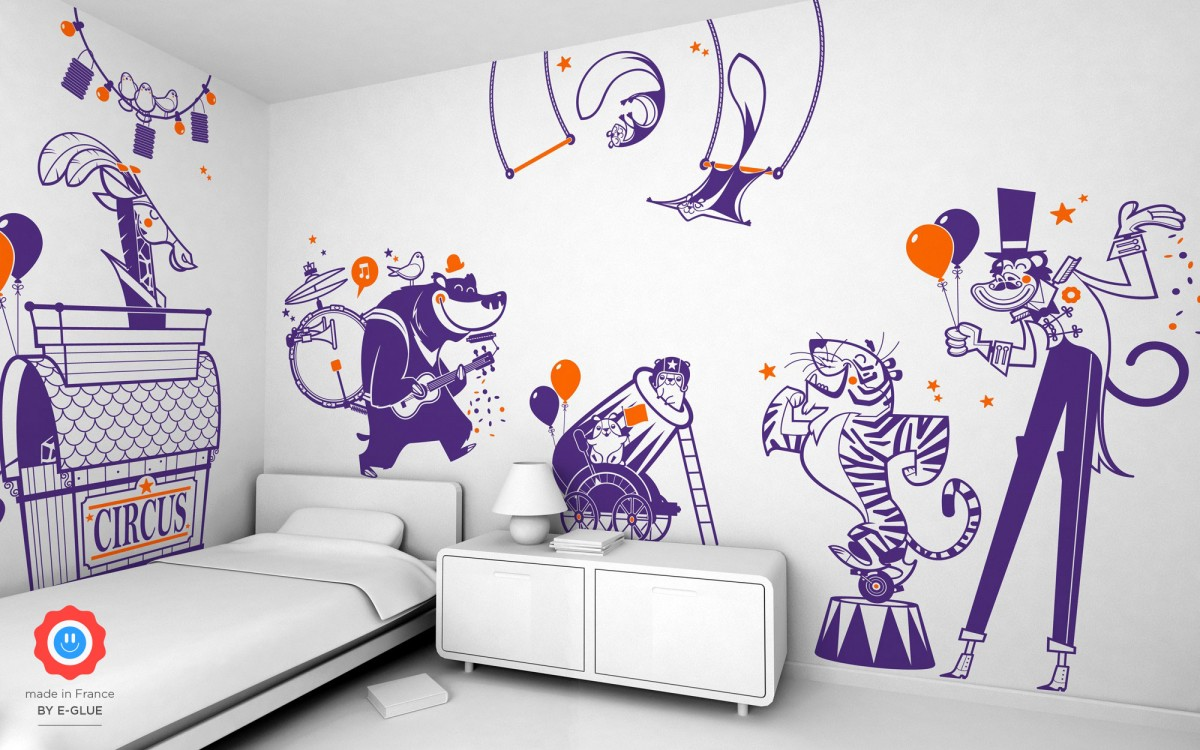circus tiger kids wall decals