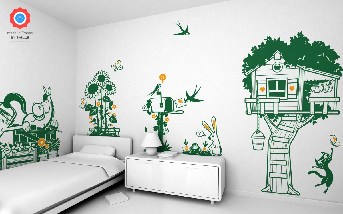 cat & butterfly kids wall decals