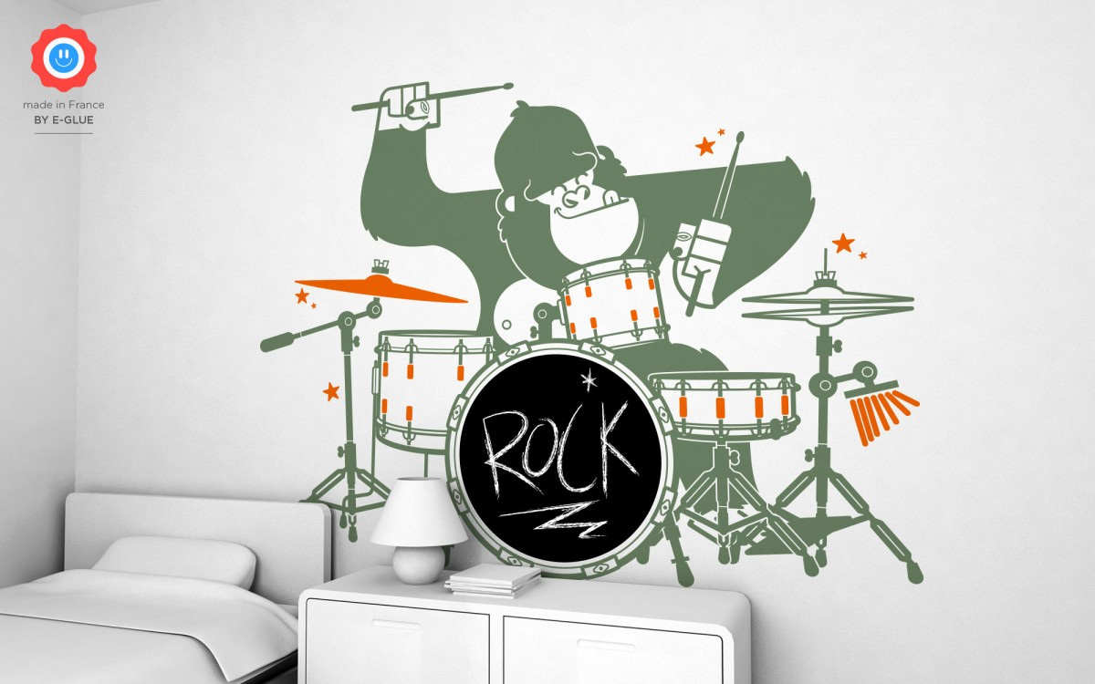 stickers ardoise gorille batteur