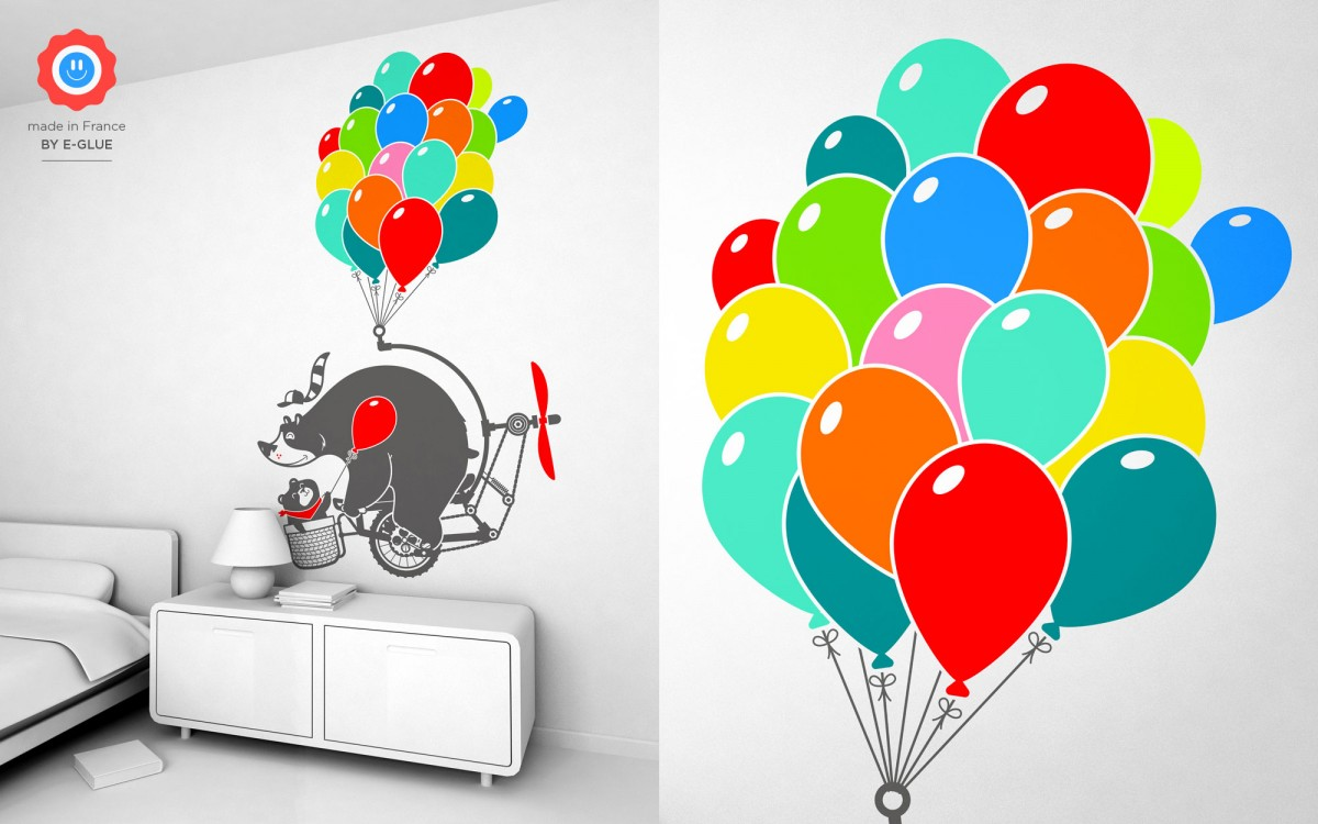 bear with balloons wall decals