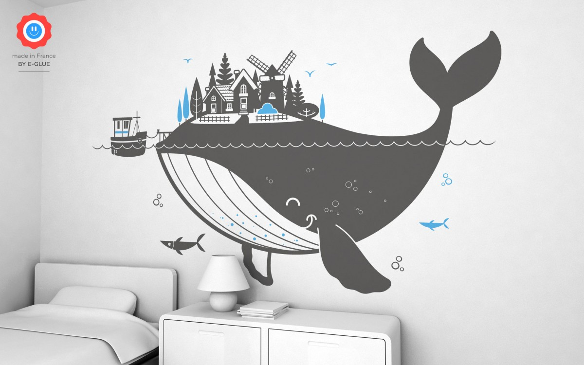 whale island wall decals (XXL)