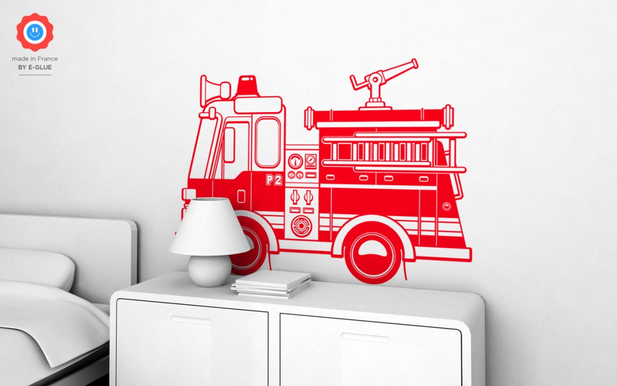 firetruck kids wall decals (XL)