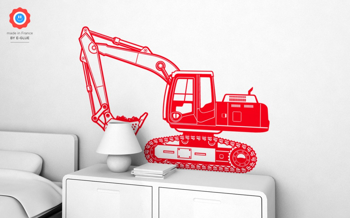 excavator digger kids wall decals (XL)