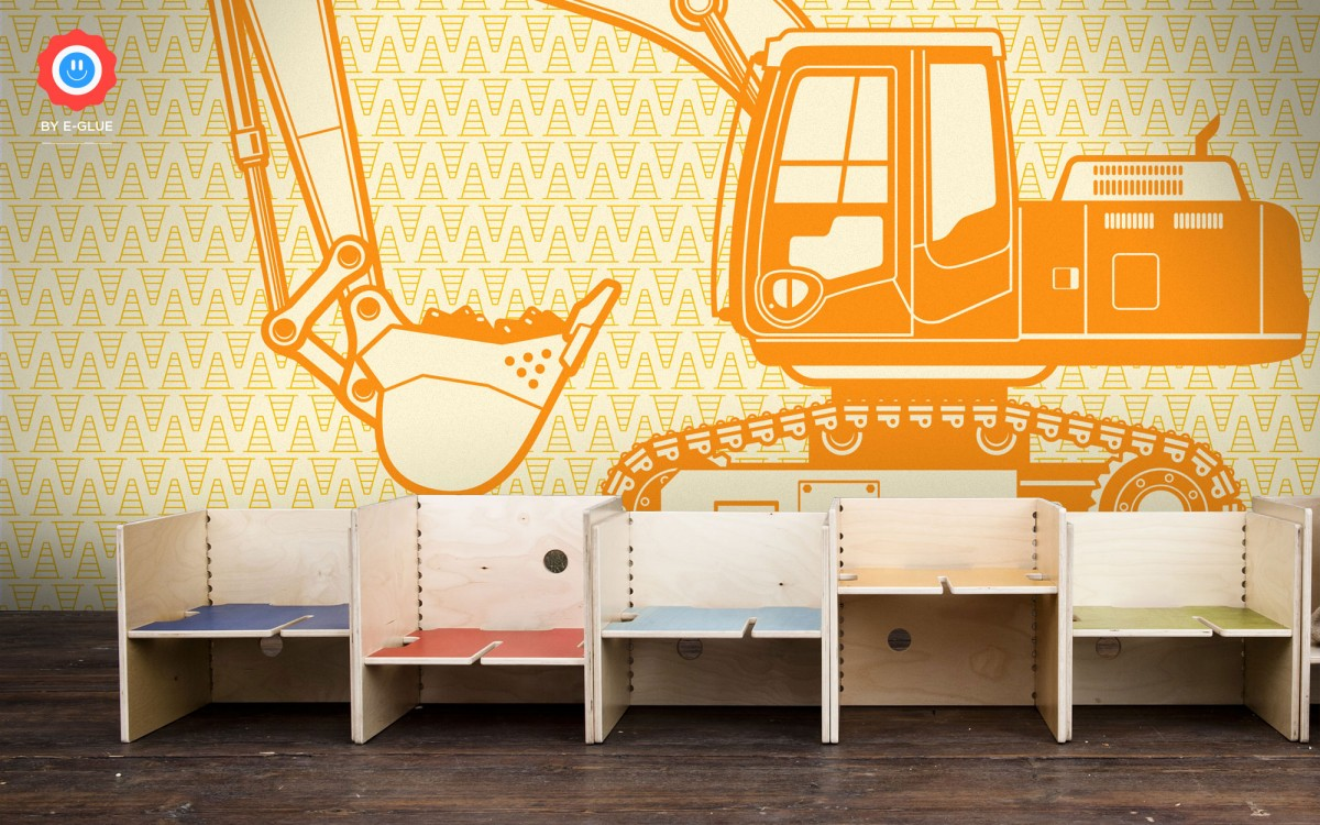 kids wallpaper mural XXL excavator