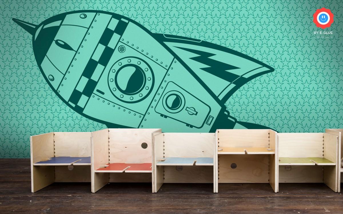 mural infantil de papel XXL cohete