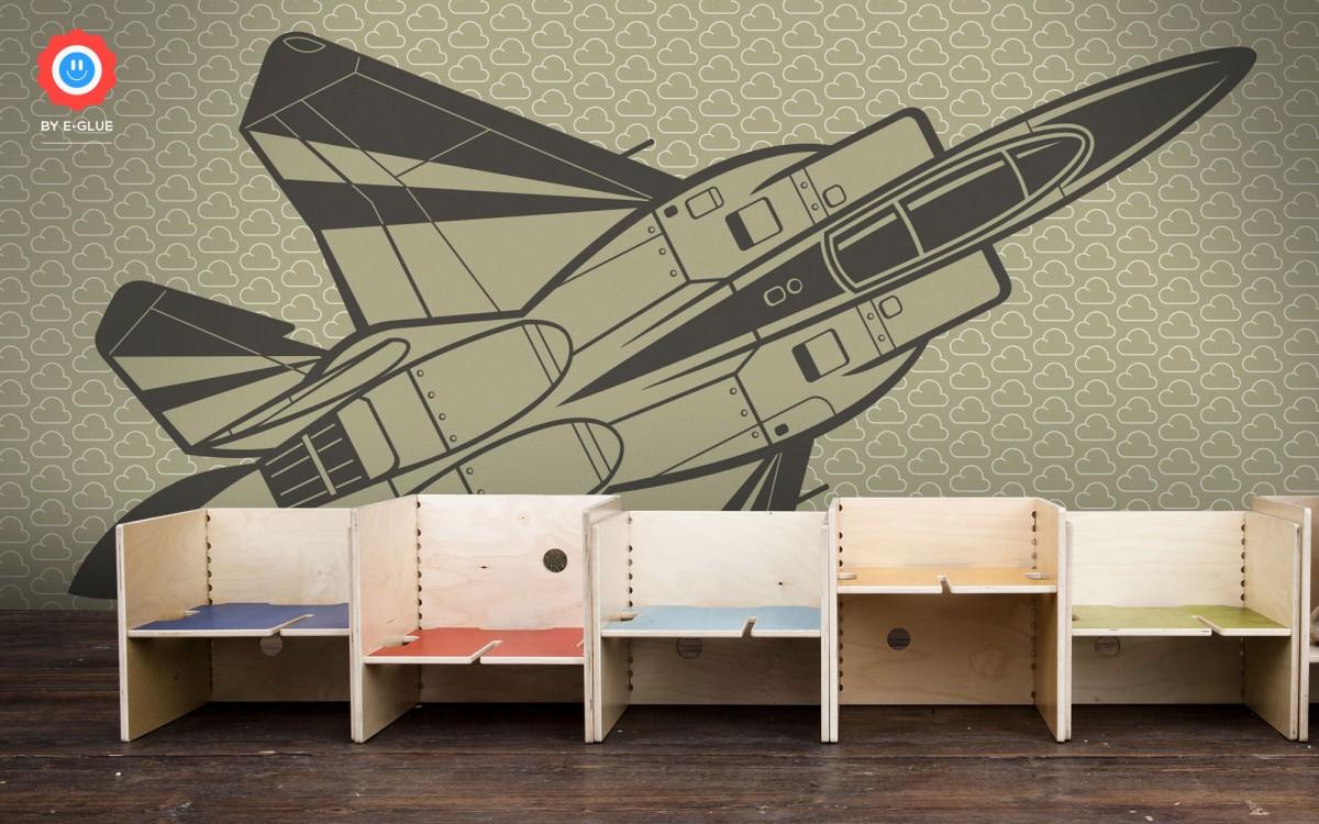 papier peint enfant XXL avion de chasse