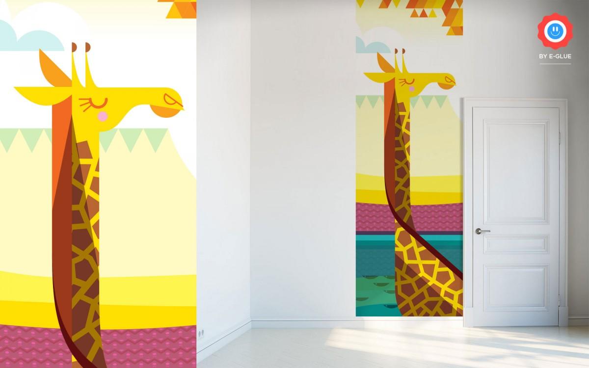 papier peint enfant savane - girafe