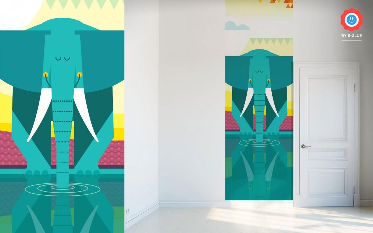 mural infantil jungla - elefante