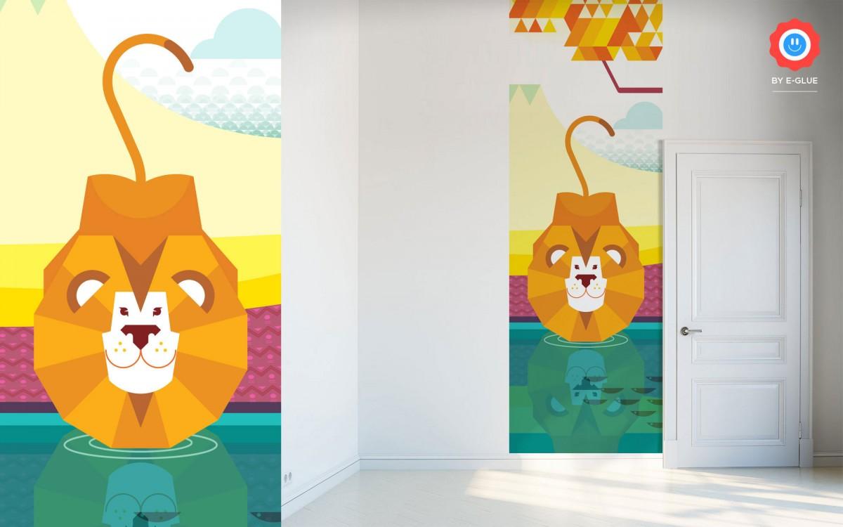 mural infantil safari - león