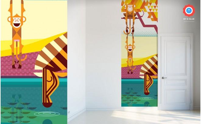 Mural Infantil Papel Pintado, monos, cebra