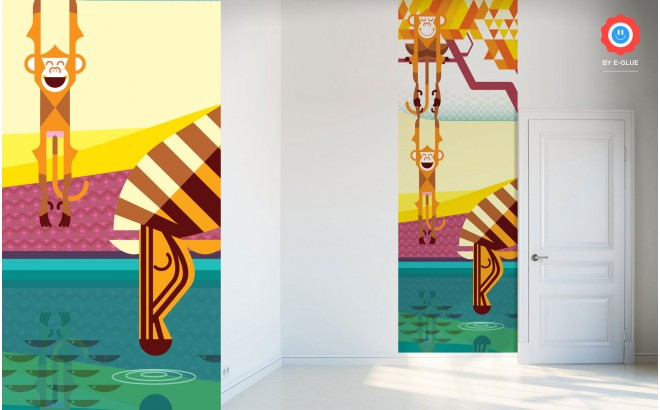 Mural infantil de papel selva murales de pared for Papel pintado cebra