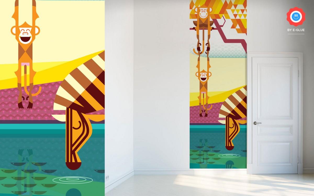 mural infantil monos y cebra