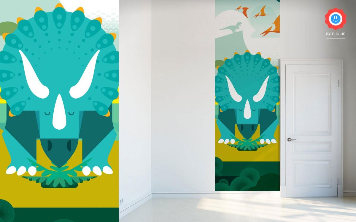 papier peint enfant dinosaure - tricératops