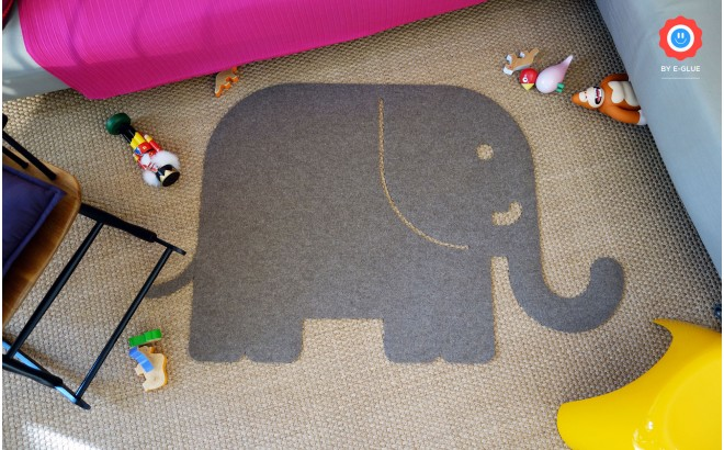 felt kids rug elephant XL