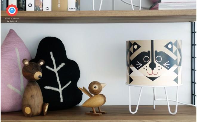 lampe enfant Minilum Raton Laveur, abat-jour bois et metal noir