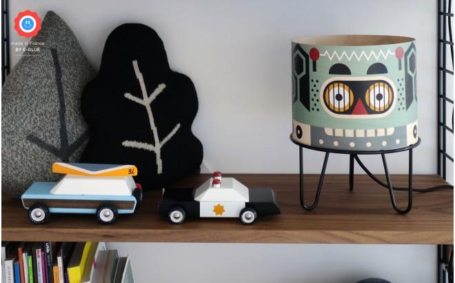lampe enfant Minilum Robot, abat-jour bois
