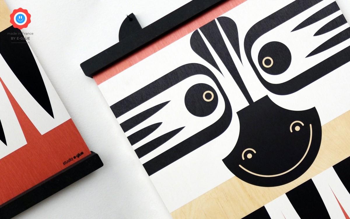 affiche en bois minipic zèbre