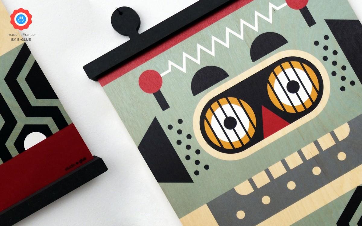affiche en bois minipic robot