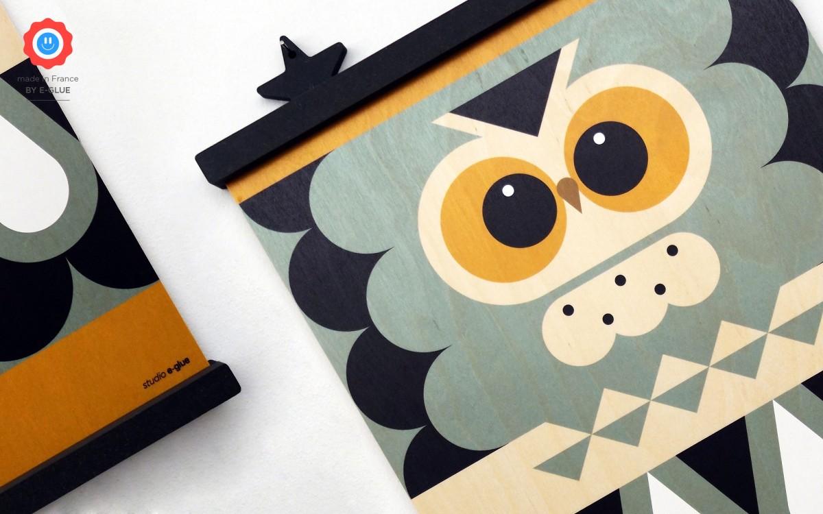 affiche en bois minipic chouette