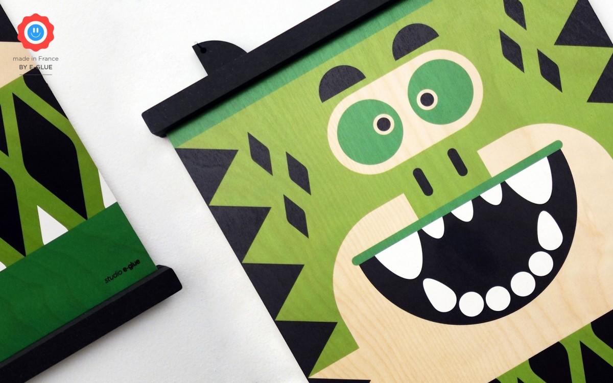 affiche en bois minipic dinosaure
