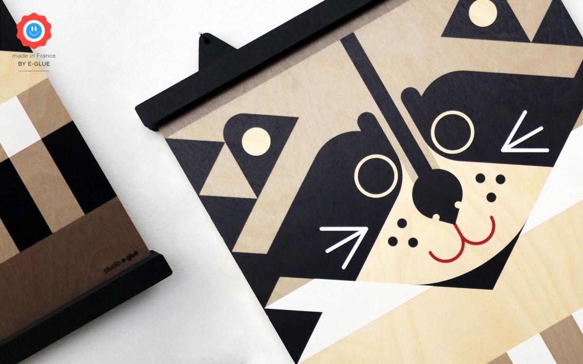wooden print minipic raccoon