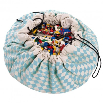 Toy Storage Bag and Portable Play Mat Toys Organizer Play and Go diamond blue