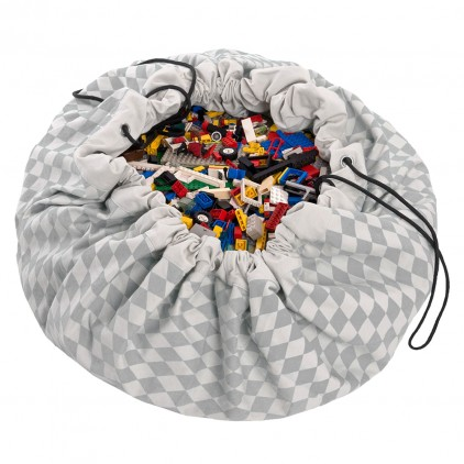Toy Storage Bag and Portable Play Mat Toys Organizer Play and Go diamond grey