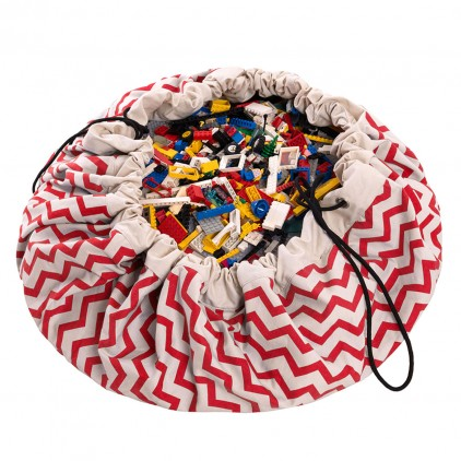 Toy Storage Bag and Portable Play Mat Toys Organizer Play and Go zigzag red