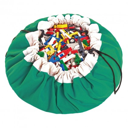 Toy Storage Bag and Portable Play Mat Toys Organizer Play and Go green