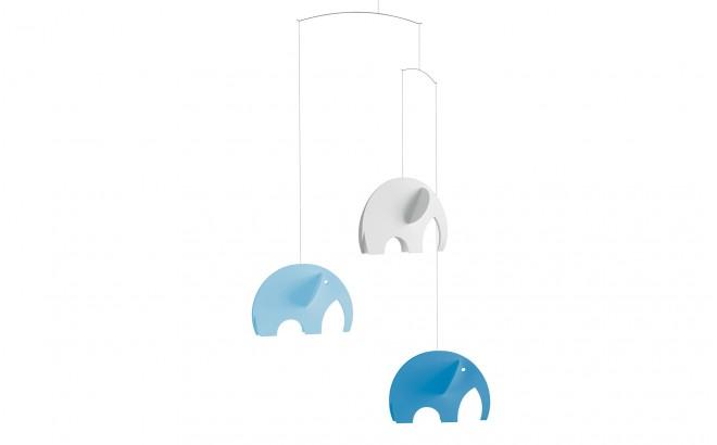 móvil de elefantes azul Flensted para decoración habitación bebé
