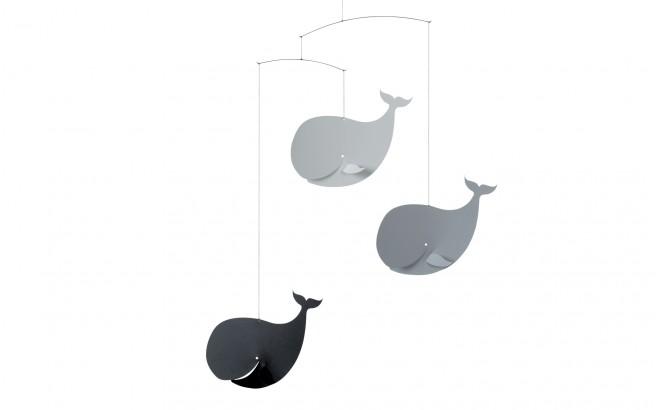 móvil de ballenas gris Flensted para decoración habitación bebé
