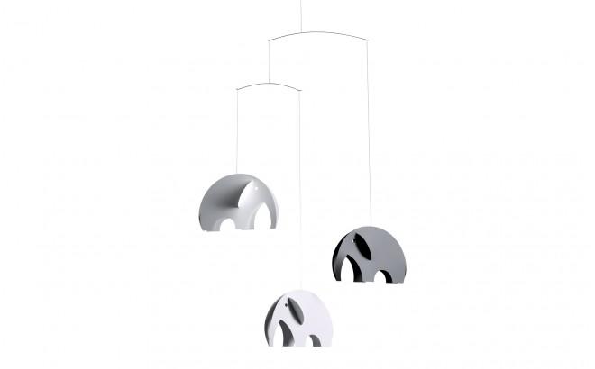 móvil elefante Flensted gris y blanco para habitación infantilmóvil de elefantes gris Flensted para decoración habitación bebé