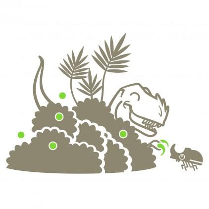 stickers enfant dinosaure buisson et raptor