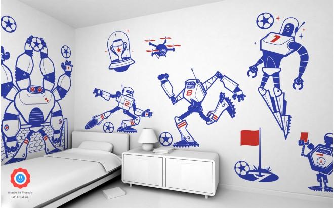 kit stickers enfant garçon robots footballeurs