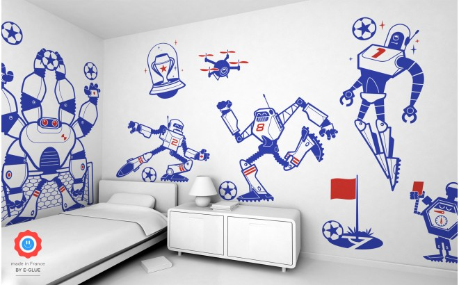 kit vinilos infantiles cama niño robots futbolistas