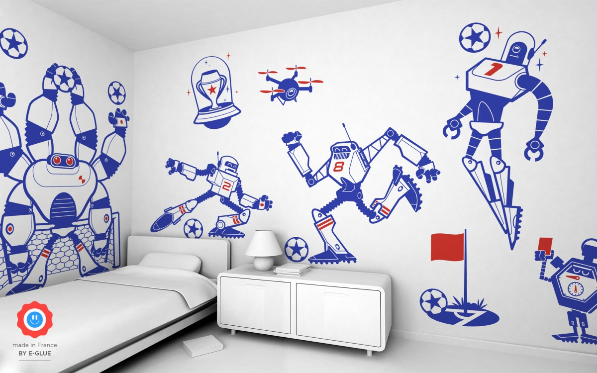 robot soccer kids wall decals